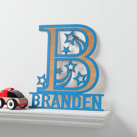 His Name Personalized Blue Wood Plaque