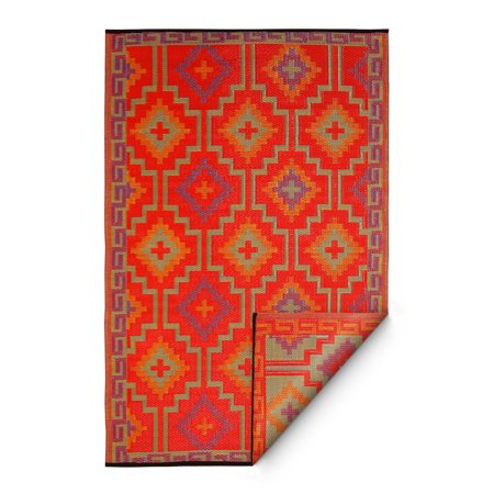 Fab Habitat Handmade Lhasa Indoor/Outdoor Rug, Orange & Violet, (6' x 9') (India)
