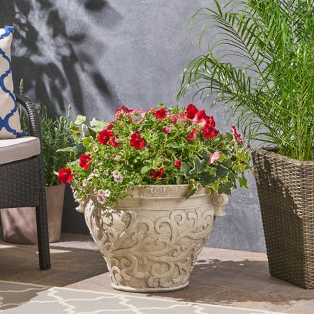 Noe Outdoor Roman Botanical Light weight Concrete Garden Urn Planter Pot, Antique White