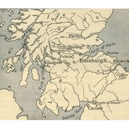 Map of Southern Scotland during the late middle ages  From A First Book of British History published 1925 Poster Print by Hilary Jane Morgan  Design Pics ()