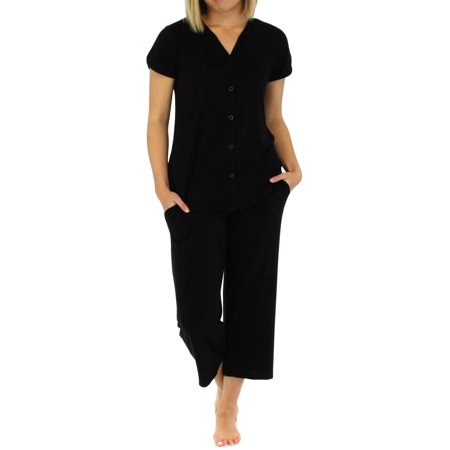 PajamaMania Women's Lightweight Short Sleeve Button Up Capri Pajama PJ Set - Pj & Me