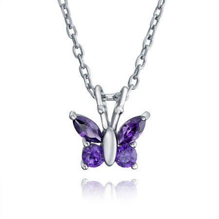 Butterfly Purple Necklace (Tiny Purple Cubic Zirconia Simulated Amethyst CZ Butterfly Pendant Necklace For Teen For Women 925 Sterling Silver )