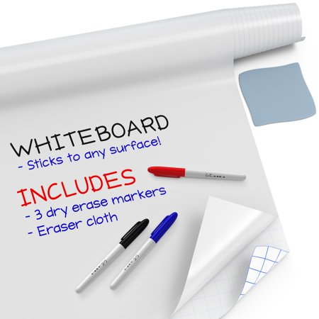 "Kassa Large Whiteboard Sticker Roll - 18"" x 78"" (6.5 Feet) - 3 Dry Erase Board Markers Included - Big White Boards for Wall, Refrigerator, Desk, Office & Kids Room - White Board Paint Alternative"