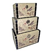 Cheung's FP-3083-3 Decorative Trunks with Butterflies (Set of 3)