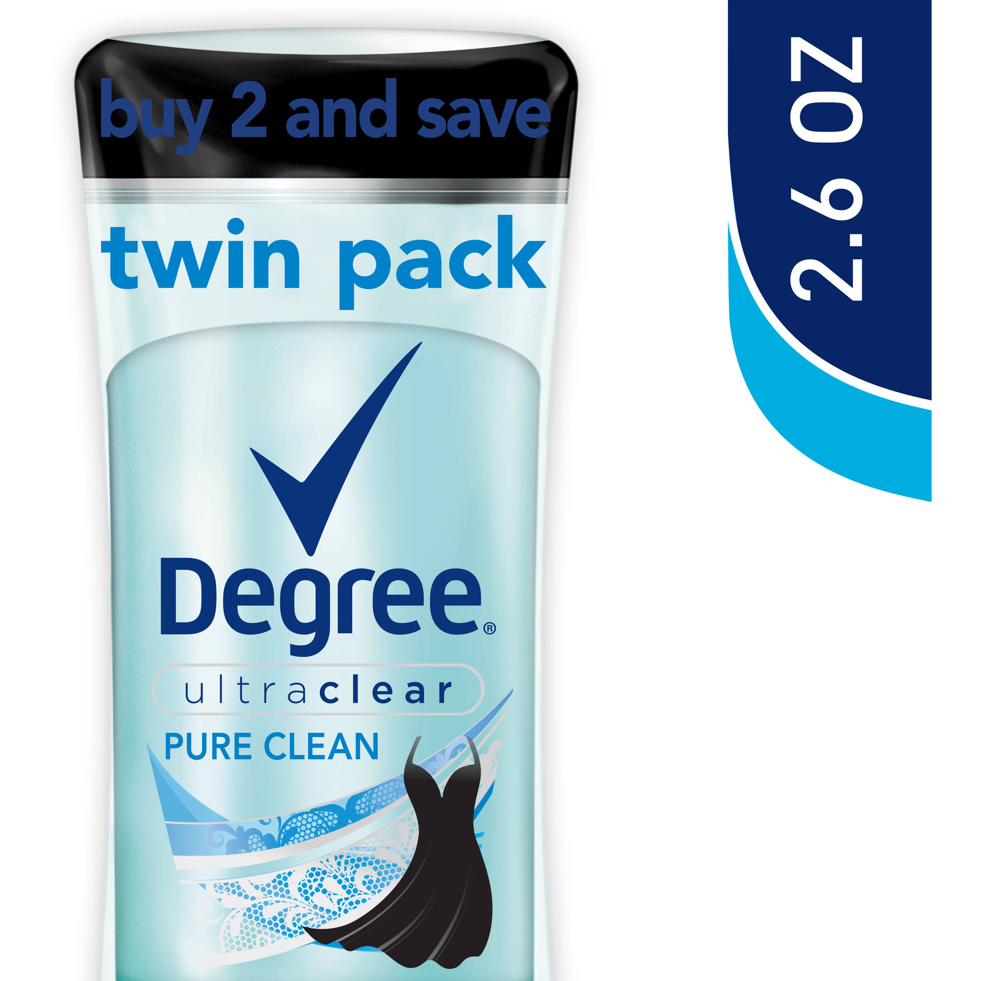 Degree Ultra Clear Pure Clean Anti-Perspirant & Deodorant, 2.6 oz, Twin Pack