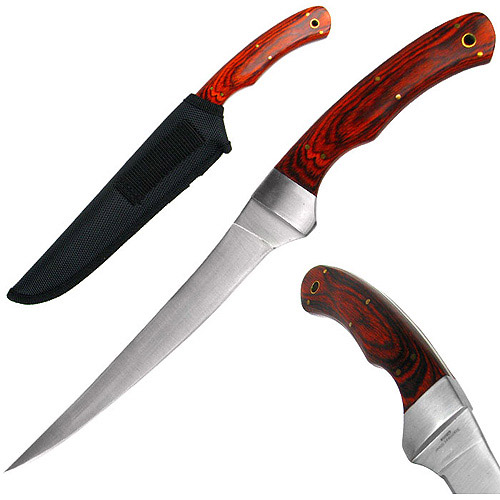 Whetstone Deluxe Pakka Wood Stainless Fillet Knife With Nylon Sheath, Brown
