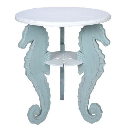 Triple Seahorses Blue and White Accent Side Table Round 24 x 15.75 Inches Wood