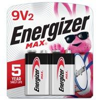 Energizer MAX Alkaline, 9V Batteries, 2 Pack