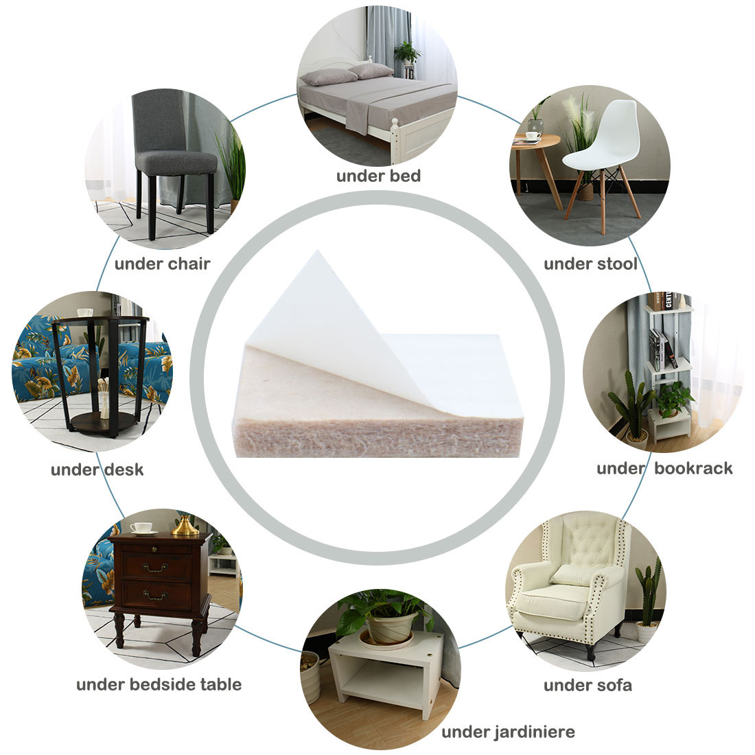 "Furniture Pads Square 1 5/8"" Self-stick for Furniture Floor Protector 12pcs - image 2 de 7"