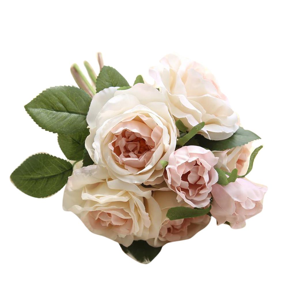 Mosunx Artificial Fake Flowers Rose Bouquet Floral Wedding Bouquet Party Home Decor