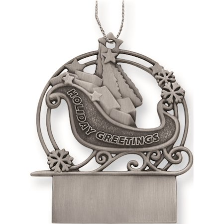 Pewter Sleigh Engraveable Ornament Designer Jewelry by Sweet (Sweet Sleigh)