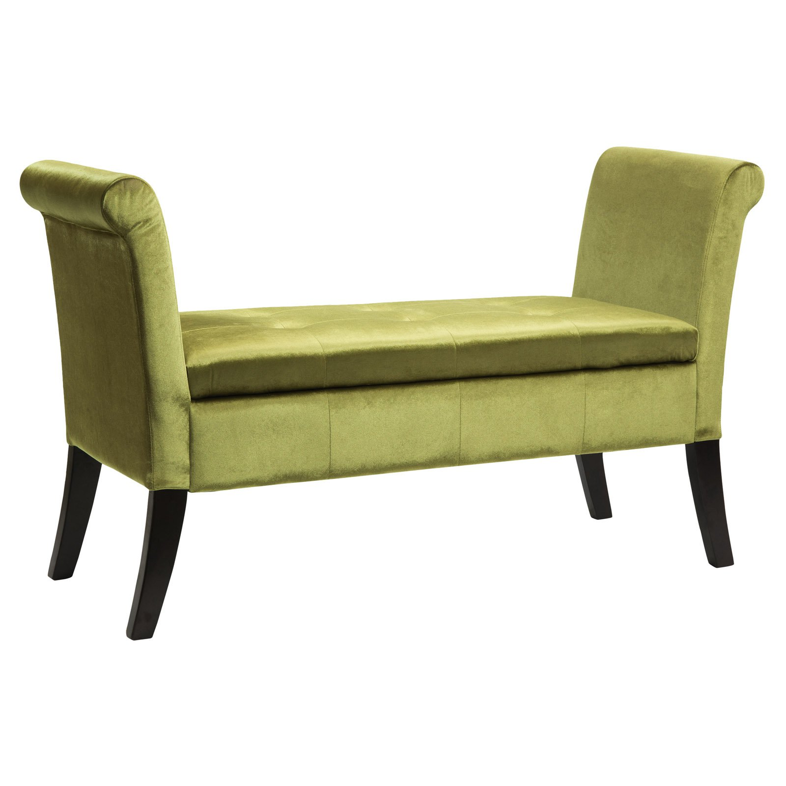 Antonio Storage Bench with Scrolled Arms in Velvet