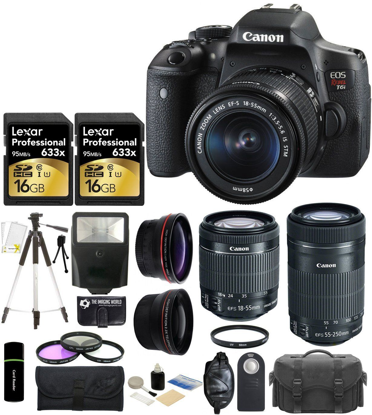Canon EOS Rebel T6i 24.2MP Digital SLR Camera with EF-S 18-55mm IS STM Lens + EF-S 55-250mm IS STM Lens + Telephoto + Wide Angle Lens + Case + Flash + Grip + Tripod + Lexar 32GB Accessories Bundle