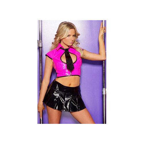 Allure Leather Vinyl Pleated Skirt 13-9077 Black,Hot Pink