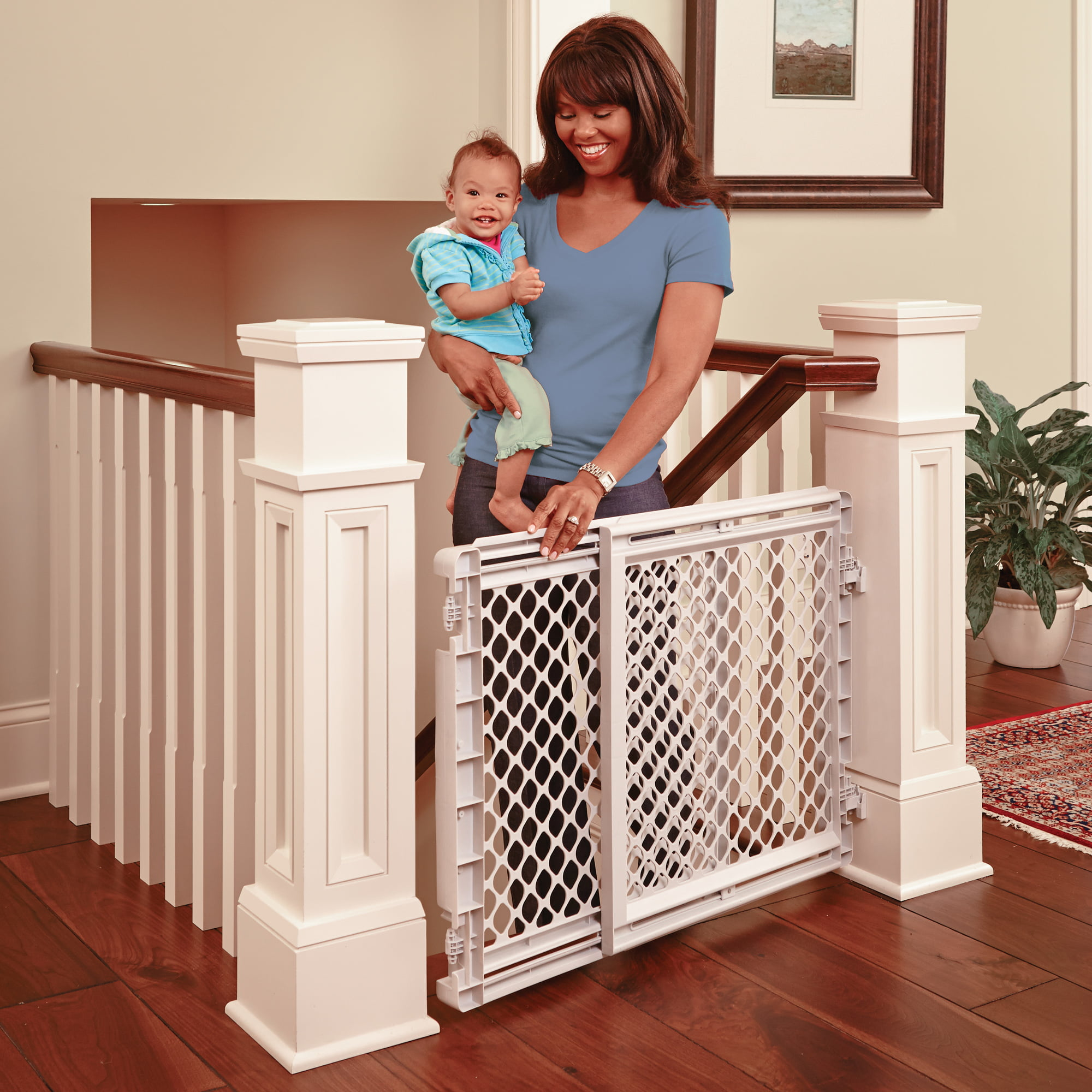 Toddleroo By North States Heavy Duty Stairway Baby Gate 27 41 Wide Light Gray Walmart Com Walmart Com