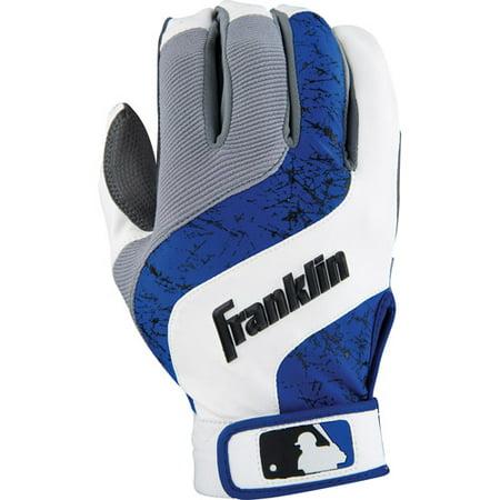 Franklin Sports MLB Adult Shok-Wave Batting Gloves - White Royal Grey - Small