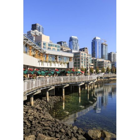 Seattle skyline and restaurants on sunny day in Bell Harbor Marina, Seattle, Washington State, Unit Print Wall Art By Frank