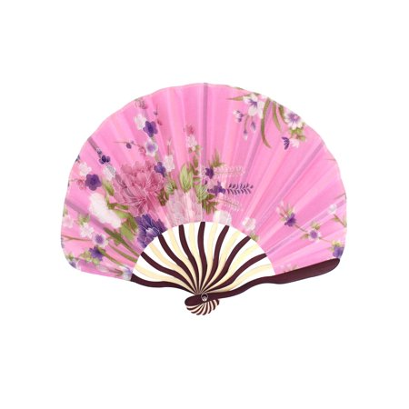 Unique Bargains Wooden Ribs Flowers Printed Dance Wedding Party Folding Hand Fan Pink](Folding Hand Fan)