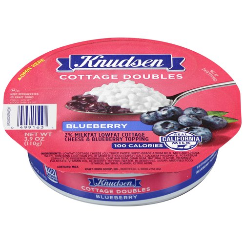 Knudsen Cottage Doubles Blueberry Lowfat Cottage Cheese, 3.9 oz