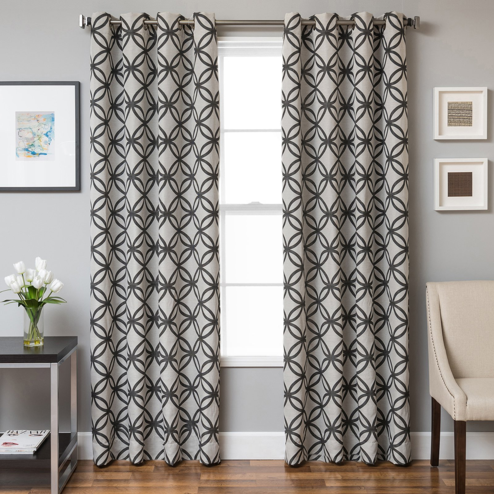Softline Palos Jacquard Grommet Top Curtain Panel