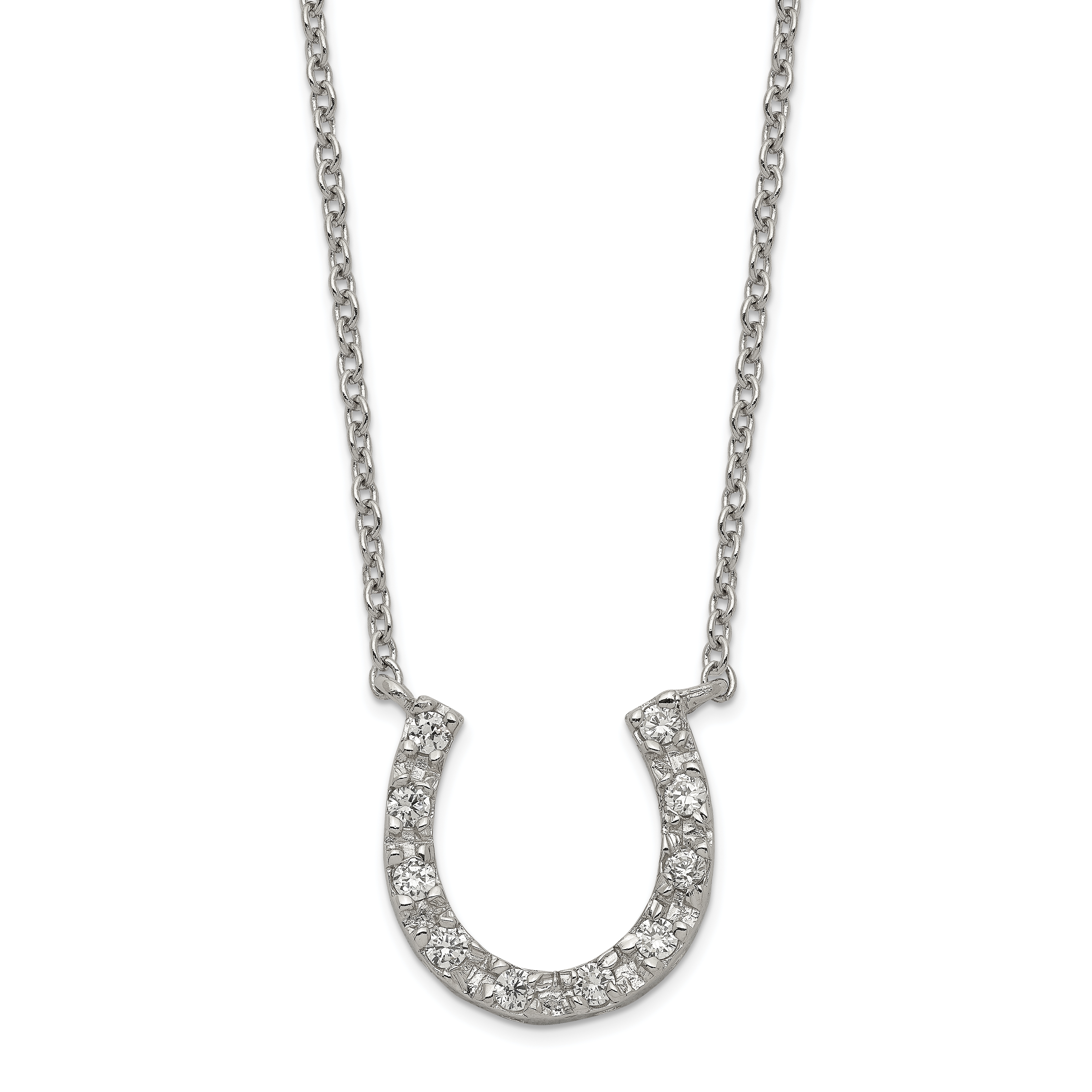 925 Sterling Silver Cubic Zirconia Cz Horseshoe Chain Necklace Pendant Charm Good Luck/italian Horn Fine Jewelry Gifts For Women For Her - image 2 de 2