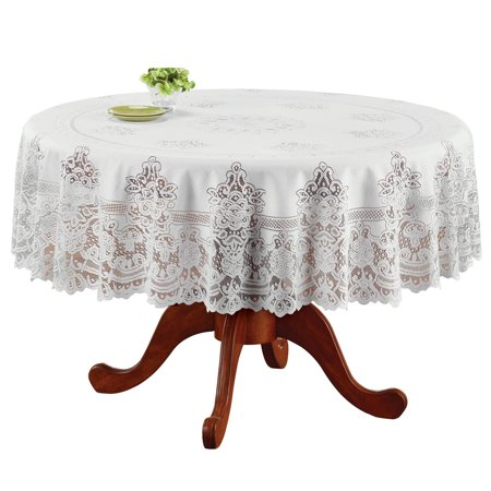 Lace Overlay (Elegant White Lace Tablecloth / Table Overlay, Scalloped Edge, for Living Room or Dining Room,)