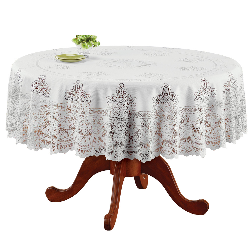Elegant White Lace Tablecloth / Table Overlay, Scalloped Edge, for Living Room or Dining Room, Round