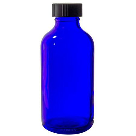 adf34106a05e Cobalt Blue Glass Boston Round Bottle with Black Phenolic Cone Lined Cap -  4 oz