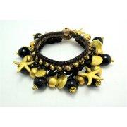 WNK International SBLG002 Handmade Onyx and Brass Beads Necklace and Bracelet Set