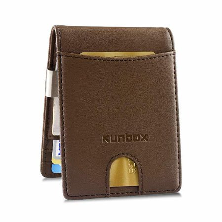Slim Genuine Leather Wallet With Money Clip ID Credit Card Holder Front Pocket for Men or Women