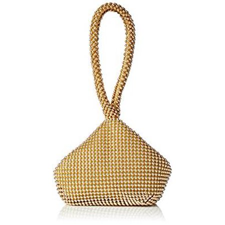 Amtal Women Gold Small Rhinestone Beaded Wristlet Pouch Style Evening Bag