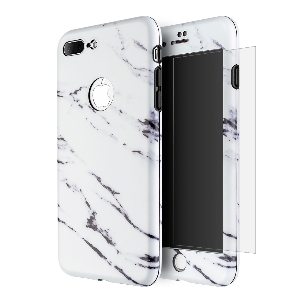 iPhone 7 Plus Full Body Case, Ultra Thin 360 Protection Hybrid Slim Tempered Glass Case for Apple iPhone 7 Plus - White