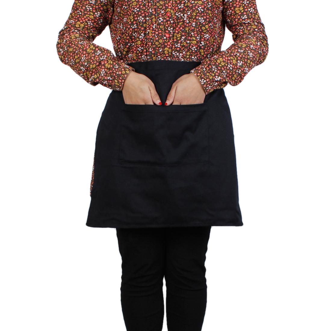 Woman Hot Pot Kitchen Cooking Fabric Halter NeckPocket Apron Bib Black