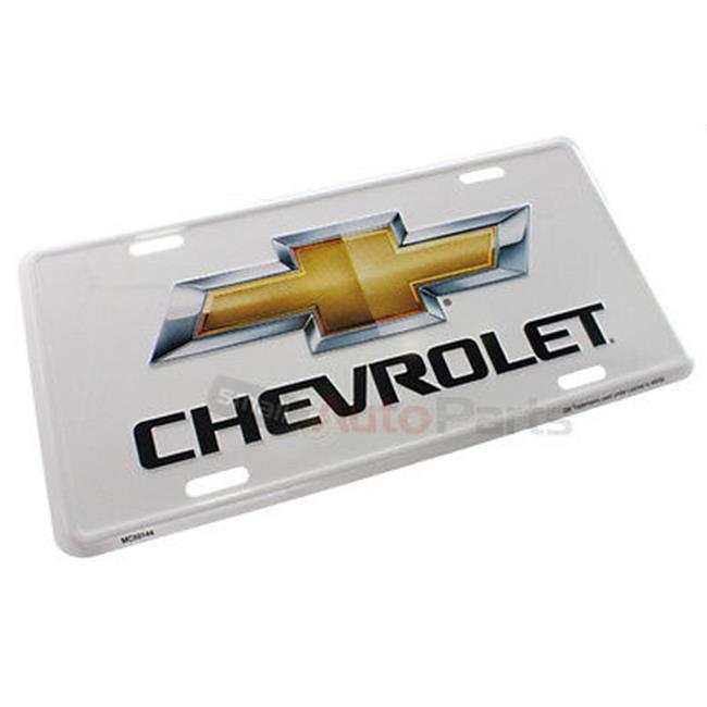 SmallAutoParts Aluminum License Plate - White Chevrolet