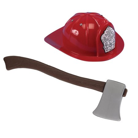 Child Red Fire Chief Fireman Helmet Hat And Toy Ax Axe Costume Firefighter - Halloween Axe