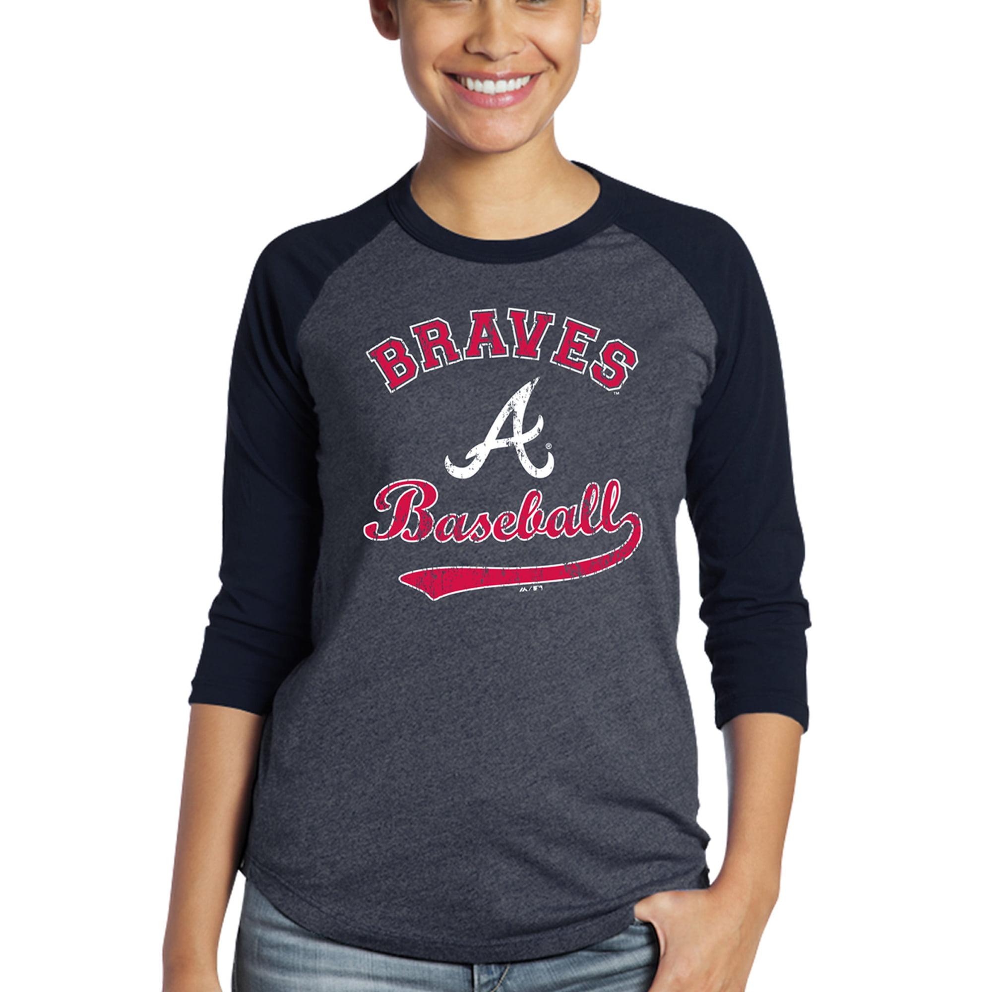 Atlanta Braves Majestic Threads Women's Team Baseball Three-Quarter Raglan Sleeve Tri-Blend T-Shirt - Navy