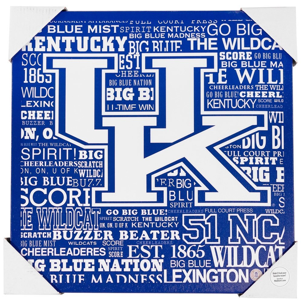Kentucky Wildcats Typography 13x13 Canvas By Artissimo by