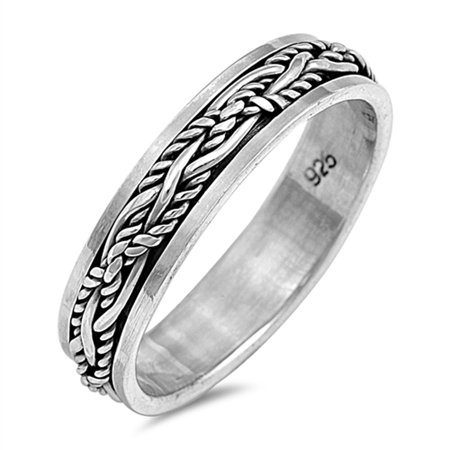 Oxidized Spinner Weave Knot Vine Wedding Ring ( Sizes 7 8 9 10 11 12 13 ) Sterling Silver Band Rings by Sac Silver (Size 8) - Wedding Knot