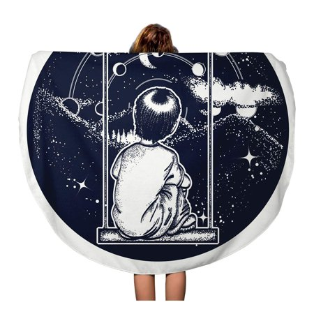 POGLIP 60 inch Round Beach Towel Blanket Boy on Swing in Mountains Dreamer Tattoo Looks at Travel Circle Circular Towels Mat Tapestry Beach Throw - image 1 of 2
