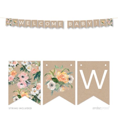 Peach Rustic Floral Garden Party, Welcome Baby!, 5-Feet Hanging Pennant Party Banner with String