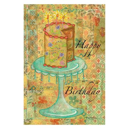 Happy Birthday Garden Flag - Toland Home Garden Patchwork Happy Birthday Cake Flag