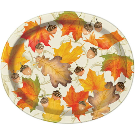 Gold Fall Leaves Thanksgiving Paper Oval Plates, 12in, 8ct - Thanksgiving Paper