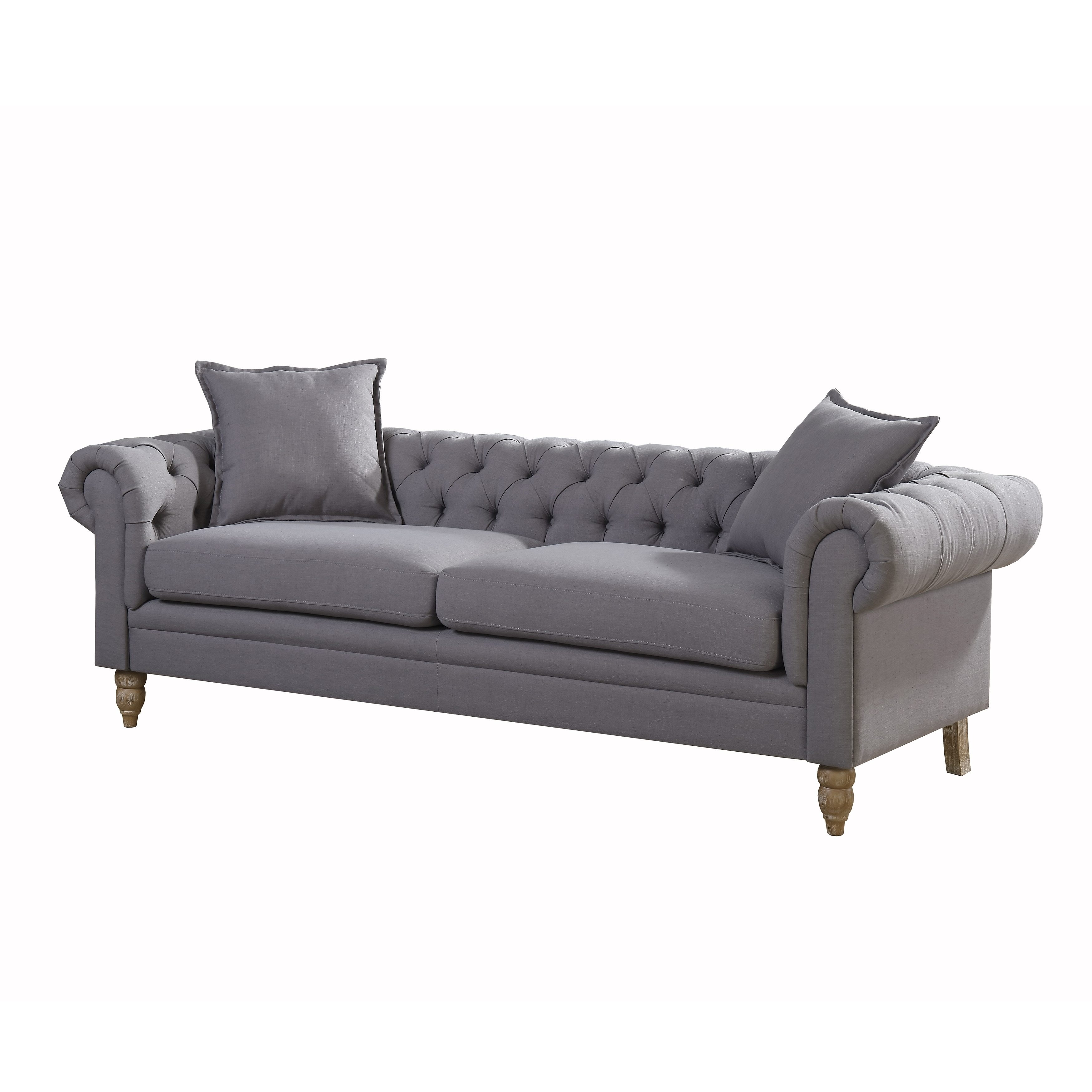 AC Pacific Christies Home Living Juliet Small Chesterfield Linen Fabric Sofa,  Grey