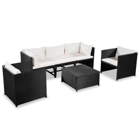 Garden Sofa Set Sectional 18 Pieces Water-Resistant Outdoor (Corner & Center Sofas & Coffee Table & Back Pillows Seat Cushions) Poly Rattan Black and Cream White Rattan Furniture Center