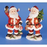 Set of 2 Festive Classic Santa Claus Bell and Tree Christmas Figures 12""