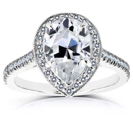 Pear Shape Moissanite Engagement Ring with Halo Diamond 2 1/2 CTW 14k White Gold