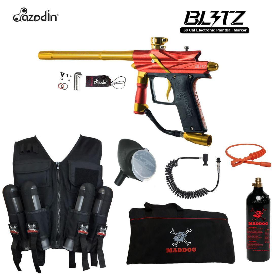 Click here to buy Azodin Blitz 3 Maddog Lieutenant Sport Vest Paintball Gun Package Orange.