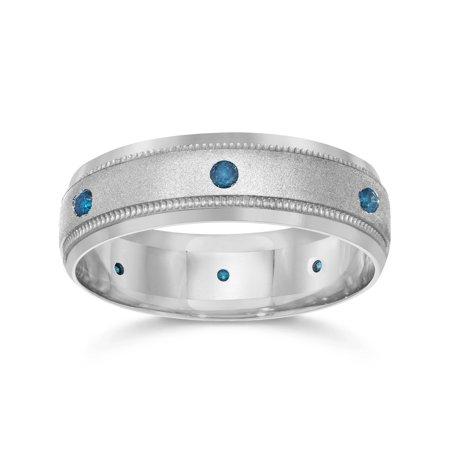 Heat Treated Blue Diamond Mens Wedding Ring 10K White Gold Color  Brushed Milgrain Blue Diamond Channel Band