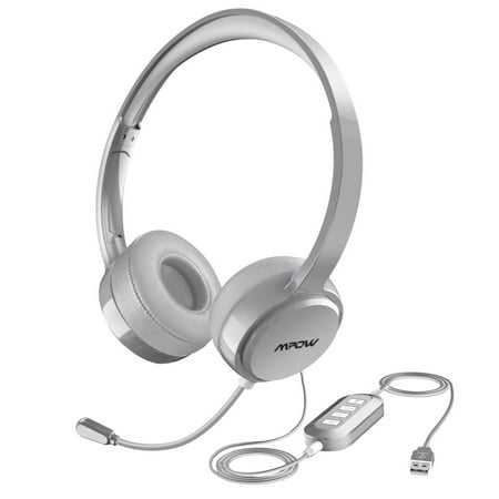f6fe0c1c82c Mpow Headset, USB Headset with Noise Reduction Sound Card, In-line Control,  Protein Memory Earmuffs for Skype Calls with Mac and PC (Silver) -  Walmart.com