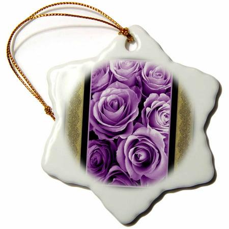 Snowflake Tea - 3dRose Purple rose bouquet surrounded by vintage tea brown damask ribbon trim, Snowflake Ornament, Porcelain, 3-inch